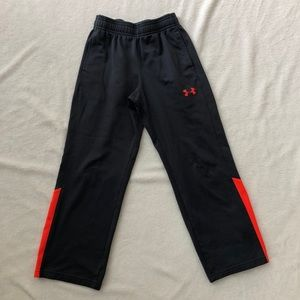 Boys small Under Armour sweatpants, gray, orange